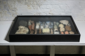 """""""The Living Among the Dead"""" Objects/artefacts from various sites in England, MDF and glass, 92x55x12cm"""