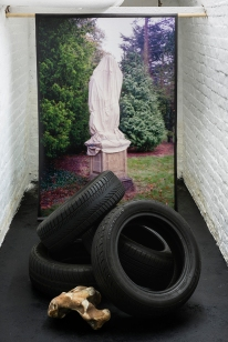 """""""Totemic"""" 150x100cm inkjet print on canvas, used car tyres, and flint rock from Seaford Head, Variable Dimensions"""
