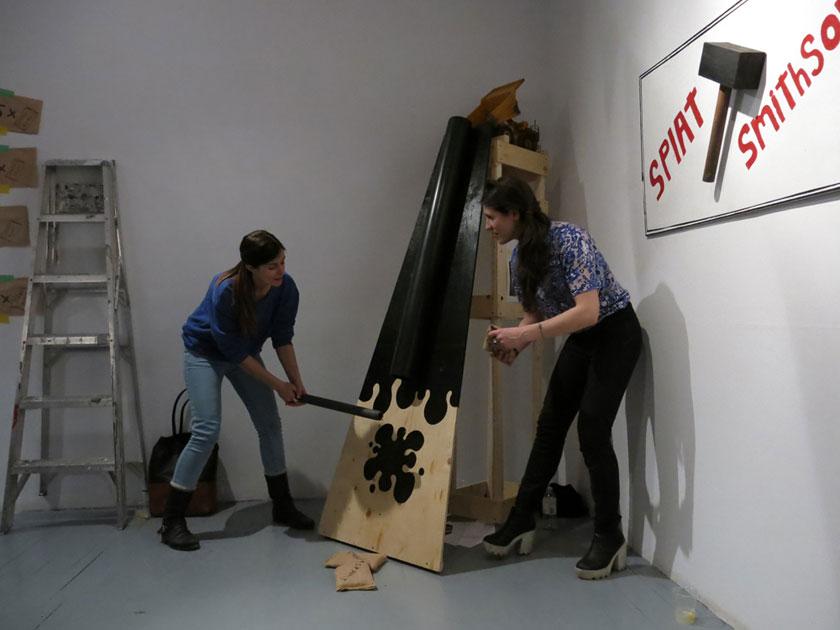 Le Smithson Splat, 2014 Installed at Les Territoires, Montréal Wood, plastic, paint, fabric, sand, toy dump-truck 6' x 3' x 3'