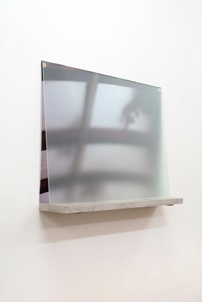 Jonathan Michael Ray, Untitled, 2018, 84x15x63cm, Glass, PVC vinyl print, limestone and stainless steel
